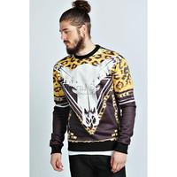 Free Shipping New 2014 fashion Skull hoodies men 3D Leopard horsehead print sweatshirts hip-hop style sport suit men