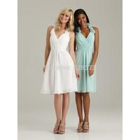 2014 Custom dressHalter V neck Flower Sheath Ruching Knee Length Bridesmaid Dresses(White\Green)