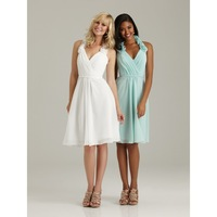 2014 Custom dress Halter V neck Flower Sheath Ruching V-neck Bridesmaid Dresses(White\Green)