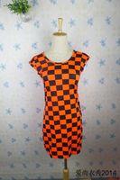2014 New Arrival Fashion Women's Summer Slim Plaid Geometry Geometry Printed Basic Dresses,Free Shipping