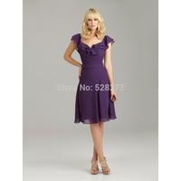 2014 Custom dressHalter Spaghetti strap Sheath Ruching Knee Length Bridesmaid Dresses LF20306
