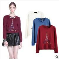 Women autumn winter 2014 European style Paris Eiffel Tower embroidery Beaded long sleeve knitted hoodies plain sweatshirt brand