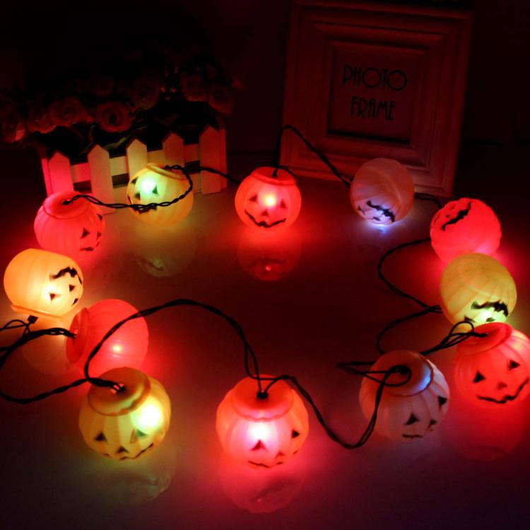 shop bar furnished props Set of 12 LED Color-changing Halloween Pumpkins kito lantern string lights ornaments(China (Mainland))
