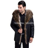 2014 New Fashion Autumn Winter Men's Leather Fur Coat Jacket Raccoon Fur Leather Jackets For Men Dropship Milk Coat M-5XL