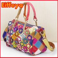 K297 Colorful 100% Genuine Cow Leather Fashion Flower Boston Bag Chains Patchwork Handbags Shoulder Messenger Bag