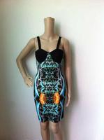 2014 New Style Print Colour Ladies HL Bandage Dress Strap Sleeveless Sexy Mini Dress Celebrity Dress Club Night Dress Wholesale