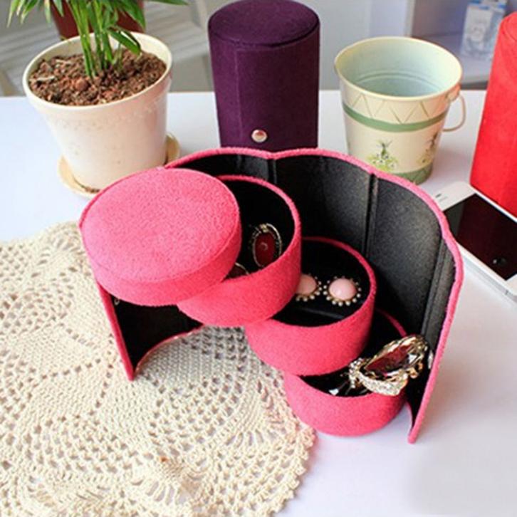Delicate Women Fashion Jewelry Box Flannel Three Tier Round Portable Multi Function Jewelry Box Jewelry Storage