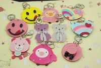 Trendy Women Plastic Zinc Alloy Chains Llaveros Chain  Mirror Cartoon Keychain Ring Bag