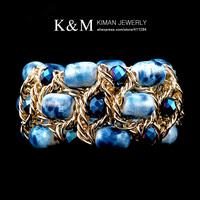 New Fashion Elegant Women Handmade Acylic Beads Elastic Bracelet For Lady Gift  Hot Jewelry Set ChainBracelets & Bangles