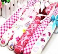 10pcs/lot Straight sponge silk calico velvet  clothes hanger wooden iron hook cabide for family store free shipping