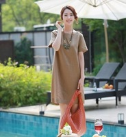 free shipping ! ladies' loose short sleeve clothing girl's cotton linen A-line dress female summer literary big size dress XXXL