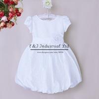 Hot Sale Girls Wedding Dress White Polyester Girl Lantern Dresses With Flowers For Infant Princess Vestido Wear GD40814-42