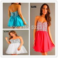 Exquisite handmade beaded evening dress Sweetheart Sheath Knee Length Bridesmaid Dresses  2014 Custom dress