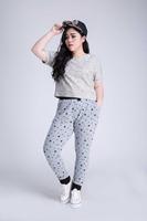 2014 New Big Yards Women Harem Pant Stars Print Elastic Waist Drawstring Plus size Loose Casual Trousers Blue/Grey S~6XL