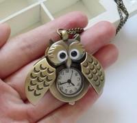 Hot Sale Free Shipping Wholesale Owl Watch Pendant Vintage Cute Women's Dress Pocket Necklace