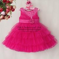 New Christmas Girls Dress Hot Pink Top Grade Layered Girl Clothes Princess Party Wear Children Clothes 6Pcs/Lot GD40814-46