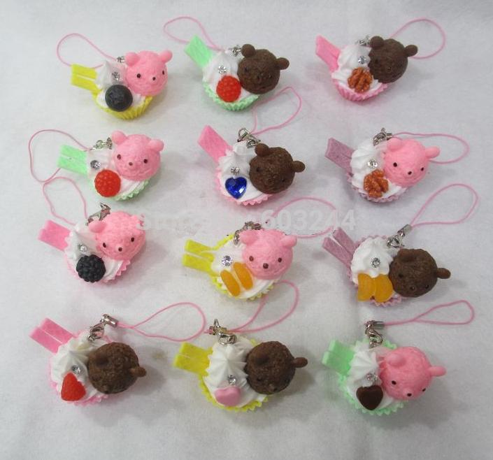 Free Ship 40pcs Mixed 3D Cartoon Bear Sweets Bear Cake Food Charm Phone Charm Strap Mobile Bag Pendant Christmas Gift(China (Mainland))