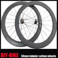 Free 1 year 23mm Width 50mm tubular 700c carbon fiber road bike racing bicycle wheelset Aero mac 494 Flat spokes FREE SHIPPING