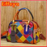 K467 Genuine Leather Multi-Color Patchwork Women Lady Fashion Shoulder Tote Bag Small Handbags