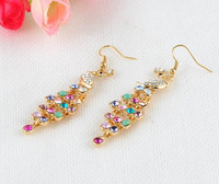 Big Sale New Arrival 18K Gold Plated SWA Element Austrian Crystal Peacock Dangle Earring Statement Earrings For Women ER0040-C