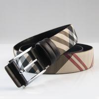 2014 new women lady Belts business casual  men leather belt Plaid Buckle Belt Blt0026 free shipping