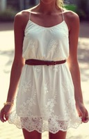 2014 New Summer Dress Seconds Kill New Summer Pure Color Flower Women Casual Lace Spaghetti Strap Dress