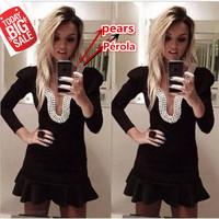 2014 women summer dress Long Sleeve Black Mini Short Pearls Backless causal evenging Dresses sexy Party Dress Vestidos De Fiesta