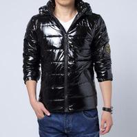 Winter jacket men outdoors man plus size down & parkas 2014 imported clothing casual black bright lightweight coat men D434