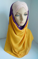 a747  Two Colors Stitching Cotton And Chiffon Easy To Wear  Muslim Hijab 10 Pieces Per Lot New Style Islamic Hijab