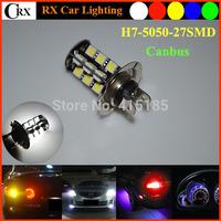 Hotsale 10pcs Canbus no error  5050 27SMD 540LM 12V White Super Bright  H7 Car LED Headlights Fog Lights Lamp