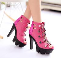 size 34-39 3 colors women's platform strapbuckle hollow sandals nightclub cool punk sandals shoes sy-234