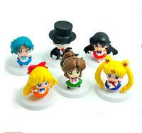 Free shipping 50sets/lot Anime Cartoon Sailor Moon Mars Jupiter Venus Mercury Q Version PVC Action Figure Model Toys 6pcs/set