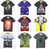2014 New Hot men's 3D T-shirt print animal/cartoon/flowers leaves skull animals crown 3d Tshirt for men top tee free shipping
