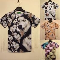 2014 New Arrivals Hot sale Men/Women 3D T shirt short sleeve summer Cotton T-shirt print dog/girl/flowers Medusa Tshirt Retial