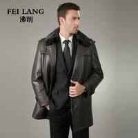 2013 sheepskin leather clothing male genuine leather clothing male medium-long nick coat outerwear