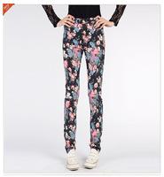 free shipping 2014 plus size flower print pencil pants stretch cotton pants