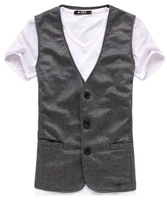 New Fashion Korean Style Men's Formal Suit V-neck Short White Sleeve Vest XMNZ089