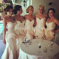 2015 Free shipping mermaid satin bridesmaid dresses! Sexy sweetheart elegant ruffles backless gown custom made bridesmaid dress