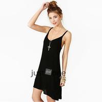 Women Lady Charming Sexy Chiffon Strape Chalaza Dress Hot Black