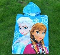 Frozen  Bath towel  Kids   Cartoon   Beach towel    with     Hooded    5   pieces/lot
