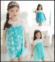 2014 hot selling famouse cartoon movie Frozen Elsa and Anna princess' dress 3 styles for 3-7 years old kids
