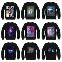 Galaxy Animals Bear Tiger Deer Sweatshirt For Women Men Flocking Casual Fleece Hoody Pullover Thick Warm Winter S-XXXL ZY053-34