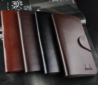 4 colors black coffee trifold men long wallets with button card holder casual genuine leather purses for men cheap new 2014