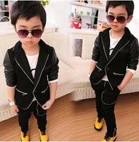 Autumn Fashion Clothing Sets Kids Solid Gentleman Boys Small dress suit Children 2pcs Clothing Set (Coat+ Pants)  AB238