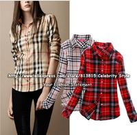 TT94 Celebrity Style Women Autumn Cotton Flannel Plaid Print Blouse Summer Winter Long Sleeve Blusas Shirts Single Tops 2014 New