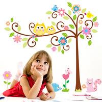 Wholesale!165*150cm Cute Owl Tree Peel & Stick Wall Decal Kindergarten DIY Art Vinyl Wall Stickers Decor Mural ZL2497