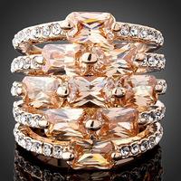Topaz Citrine Austrian Crystal 18K Rose White Gold plated Women Ring Size 6 7 8 9