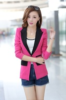 Free shipping roupas femininas red, rose red, black, green, blue blazer candy color suit M/L/XL