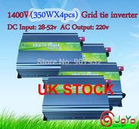 1400W(350WX4PS) Grid Tie Inverter for Solar Panel 28V-52V DC(350 watt, 220V, High Efficiency, Free Shipping)UK STOCK