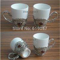 wholesale 4pcs/ set brand design creative ceramic mug metal handle split coffee tea milk cup tablewares